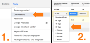 Google AdWords News View Through Conversions Zeit Umstellung