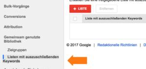 Google AdWords News Auszuschließende Keywords kontoübergreifend