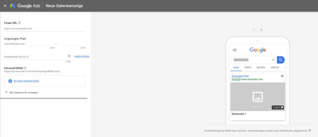 Erstellung von Galerieanzeigen in Google Ads